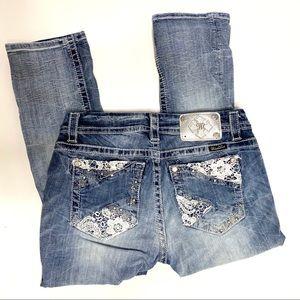 Miss Me mid rise curvy crop jeans sz 27
